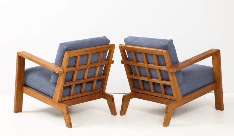 Pair of René Gabriel Oak Armchairs Upholstered in Blue Linen For Sale 2