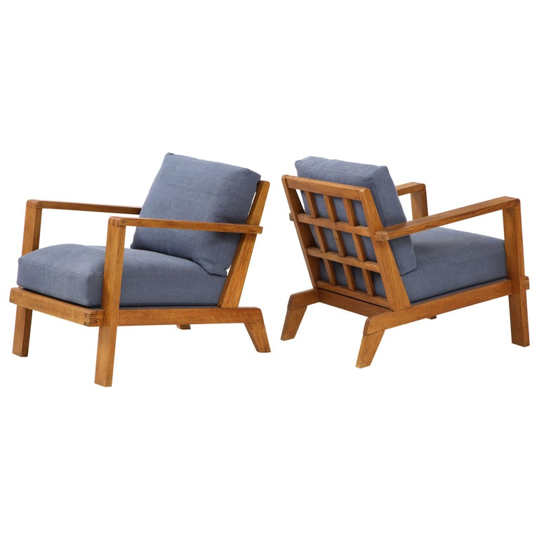 Pair of René Gabriel Oak Armchairs Upholstered in Blue Linen For Sale