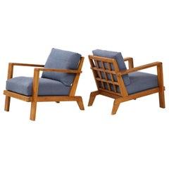 Pair of René Gabriel Oak Armchairs Upholstered in Blue Linen, France, circa 1945