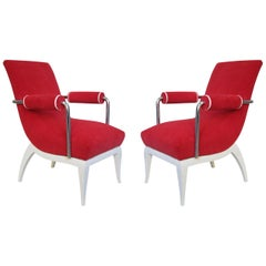 Pair of René Herbst Midcentury White Lacquer and Red Wool French Armchairs, 1950