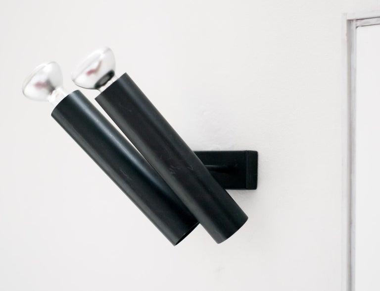 Enameled Pair of René-Jean Caillette Double Tubular Sconces For Sale