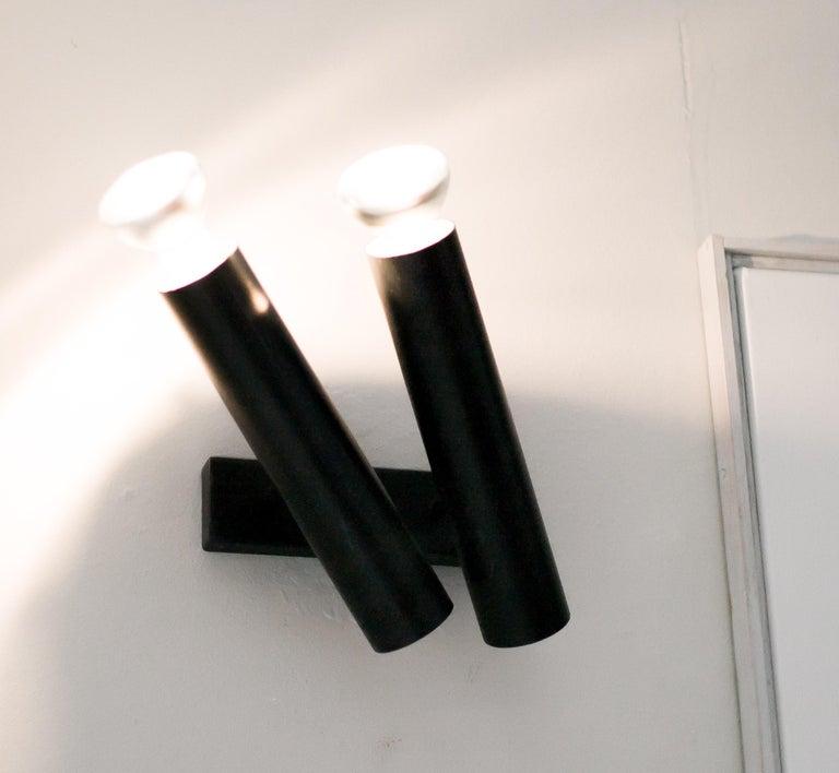 Mid-20th Century Pair of René-Jean Caillette Double Tubular Sconces For Sale