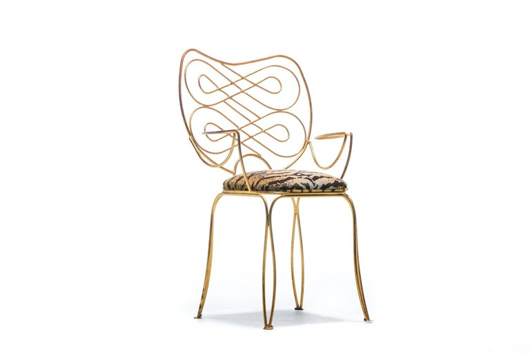 Pair of René Prou Style French Gilt Metal Chairs with Italian Tiger Velvet Seats For Sale 12
