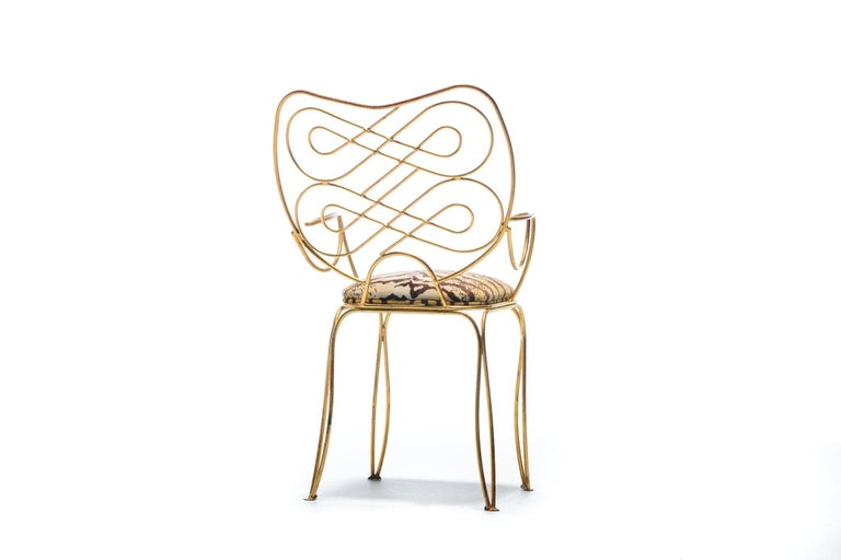 Pair of René Prou Style French Gilt Metal Chairs with Italian Tiger Velvet Seats For Sale 13