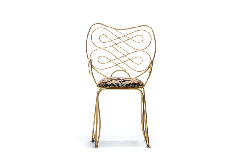 Pair of René Prou Style French Gilt Metal Chairs with Italian Tiger Velvet Seats For Sale 15