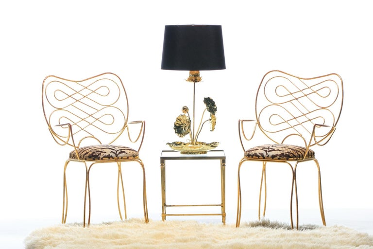 Hollywood Regency Pair of René Prou Style French Gilt Metal Chairs with Italian Tiger Velvet Seats For Sale