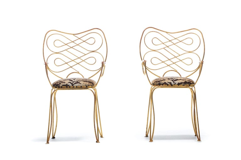 Pair of René Prou Style French Gilt Metal Chairs with Italian Tiger Velvet Seats In Good Condition For Sale In Saint Louis, MO