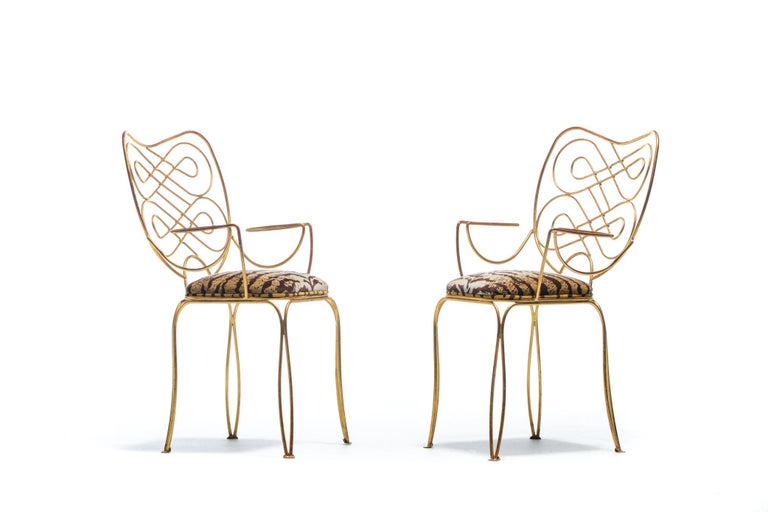 Mid-20th Century Pair of René Prou Style French Gilt Metal Chairs with Italian Tiger Velvet Seats For Sale