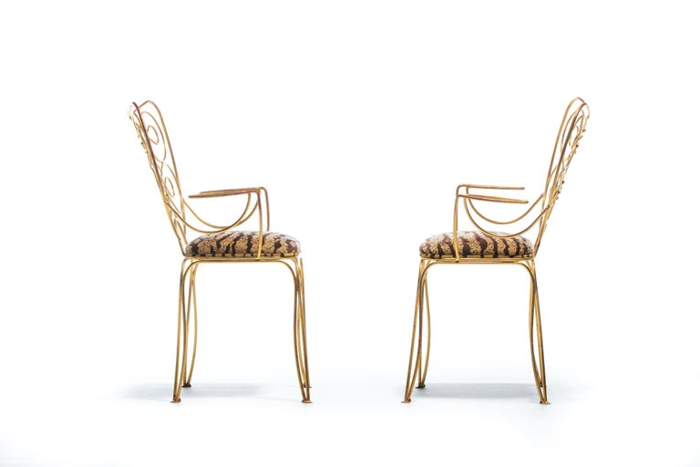 Pair of René Prou Style French Gilt Metal Chairs with Italian Tiger Velvet Seats For Sale 1