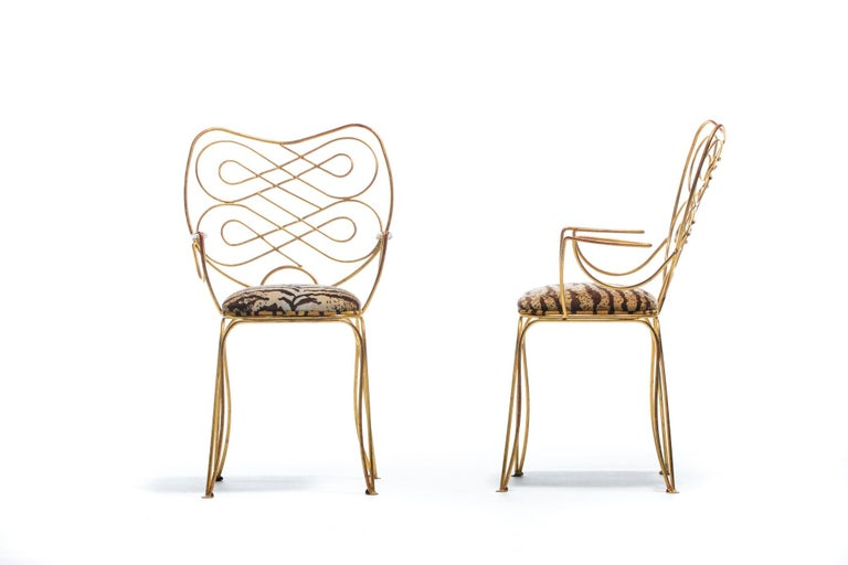 Pair of René Prou Style French Gilt Metal Chairs with Italian Tiger Velvet Seats For Sale 2