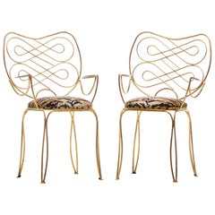 Pair of René Prou Style French Gilt Metal Chairs with Italian Tiger Velvet Seats