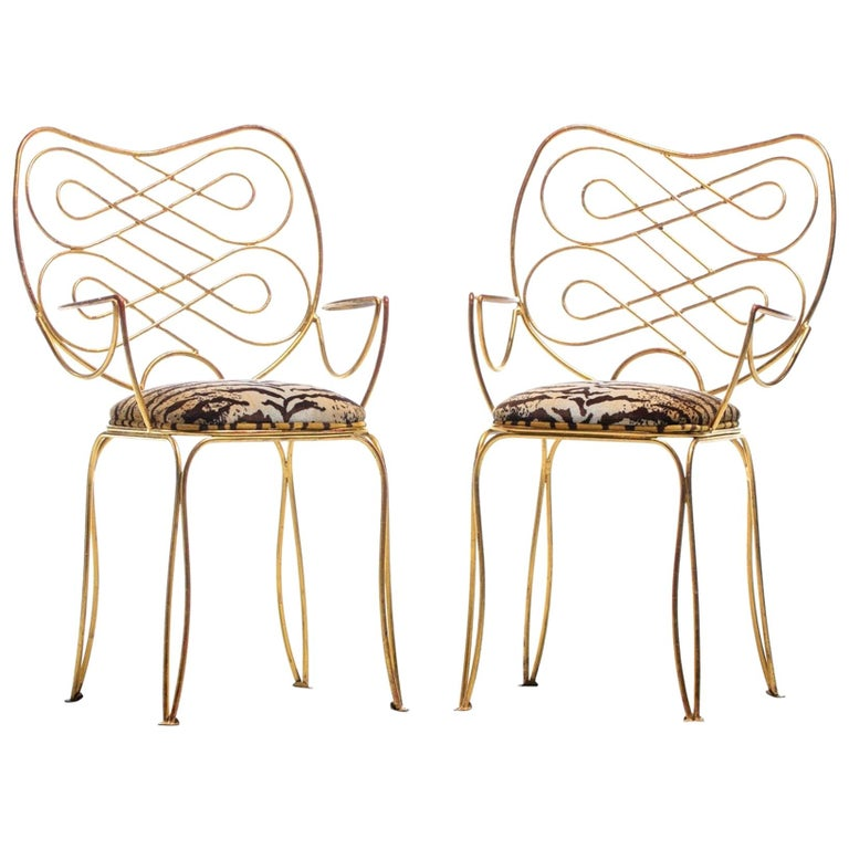Pair of René Prou Style French Gilt Metal Chairs with Italian Tiger Velvet Seats For Sale
