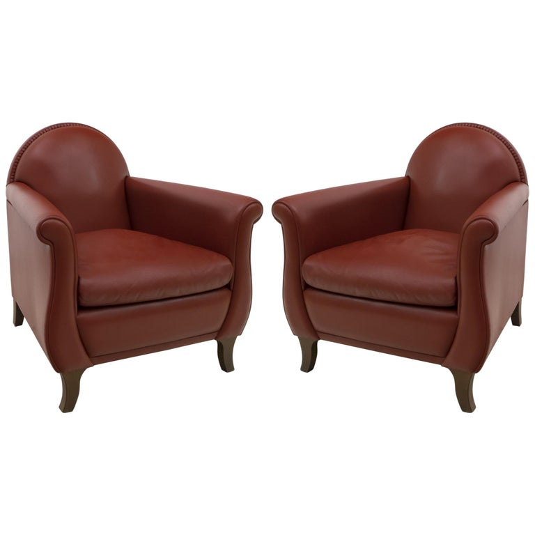 "Pair of Renzo Frau Italian Leather Armchairs ""Lyra"" by Poltrona Frau For Sale"