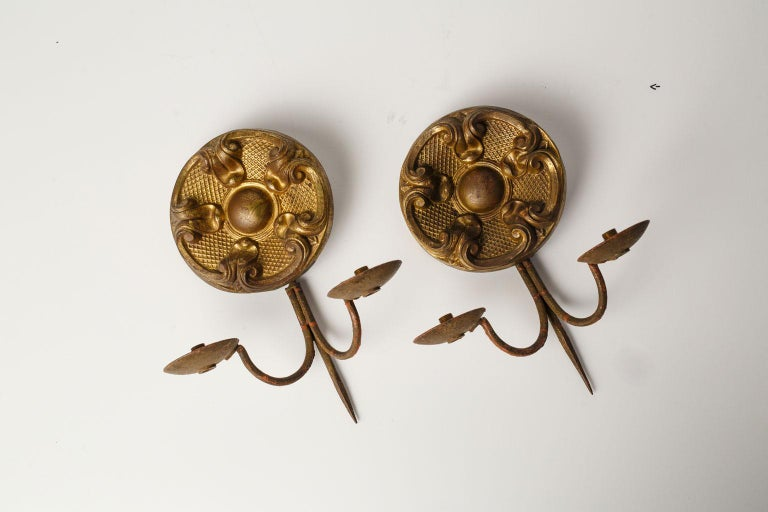 French Provincial Pair of Repousse Sconces For Sale