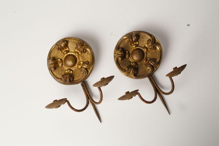 French Pair of Repousse Sconces For Sale