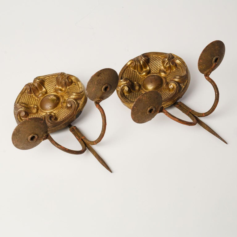 Forged Pair of Repousse Sconces For Sale