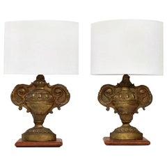 Pair of Repousse Tole Lamps
