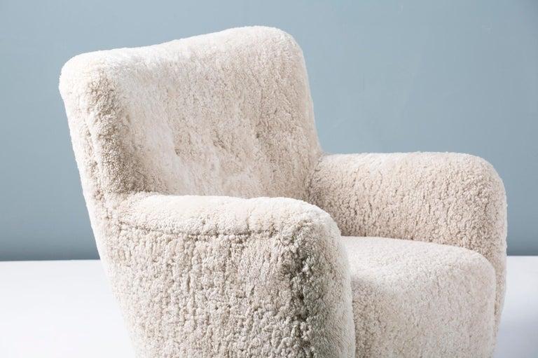 Pair of Custom Made Danish Modern Style Sheepskin Armchairs For Sale 4