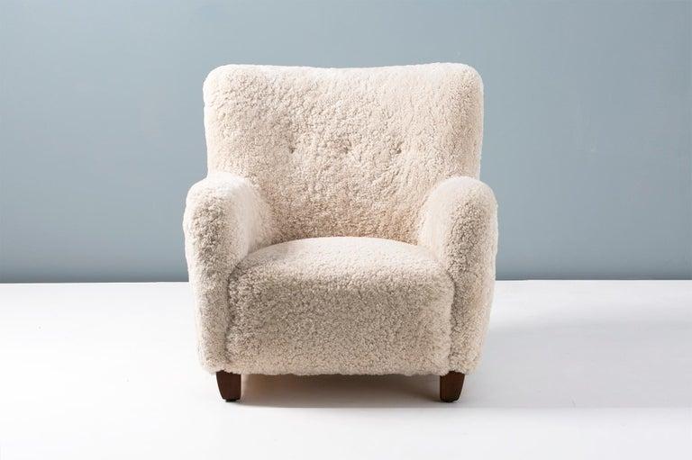 Scandinavian Modern Pair of Custom Made Danish Modern Style Sheepskin Armchairs For Sale