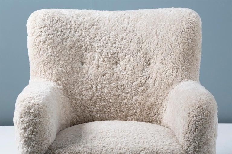 British Pair of Custom Made Danish Modern Style Sheepskin Armchairs For Sale