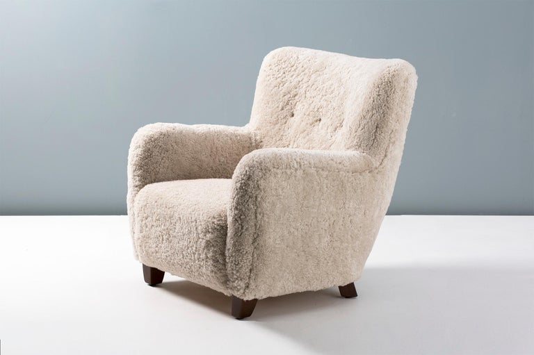Contemporary Pair of Custom Made Danish Modern Style Sheepskin Armchairs For Sale