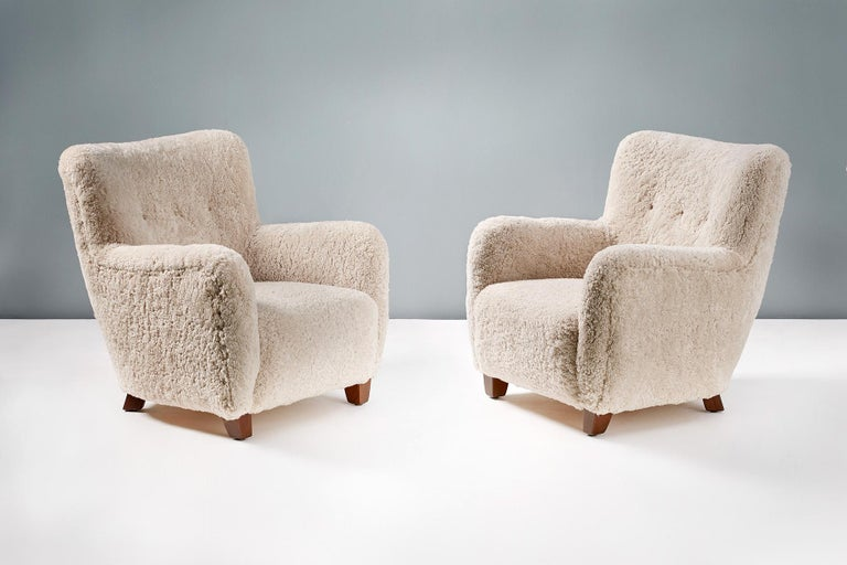 Pair of Custom Made Danish Modern Style Sheepskin Armchairs For Sale 1
