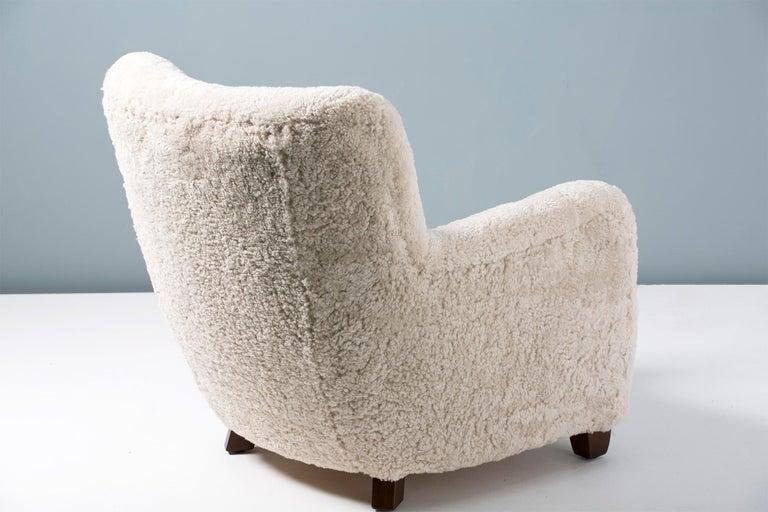 Pair of Custom Made Danish Modern Style Sheepskin Armchairs For Sale 2