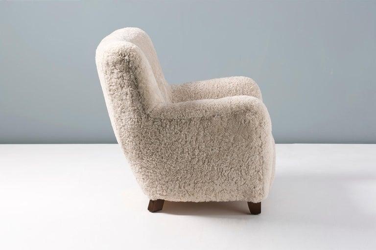 Pair of Custom Made Danish Modern Style Sheepskin Armchairs For Sale 3