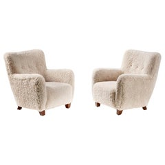 Pair of Reproduction 1950s Danish Sheepskin Armchairs
