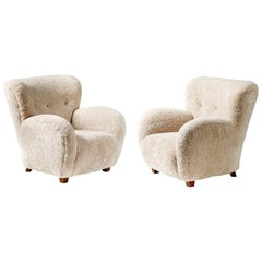Pair of Reproduction Flemming Lassen Style Sheepskin Armchairs