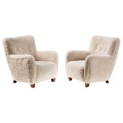 Pair of Custom Made Danish Modern Style Sheepskin Armchairs