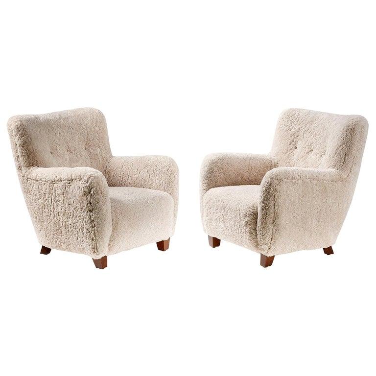 Pair of Custom Made Danish Modern Style Sheepskin Armchairs For Sale