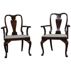 Pair of Reproduction Queen Anne Solid Mahogany Arm Dining Chairs