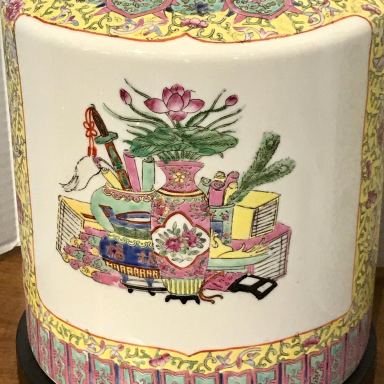 Pair of Republic Chinese Export Yellow Famille Verte Lamps In Fair Condition For Sale In Atlanta, GA