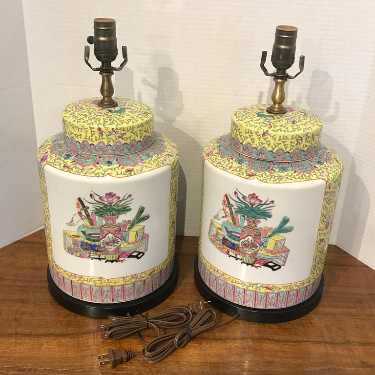 Porcelain Pair of Republic Chinese Export Yellow Famille Verte Lamps For Sale