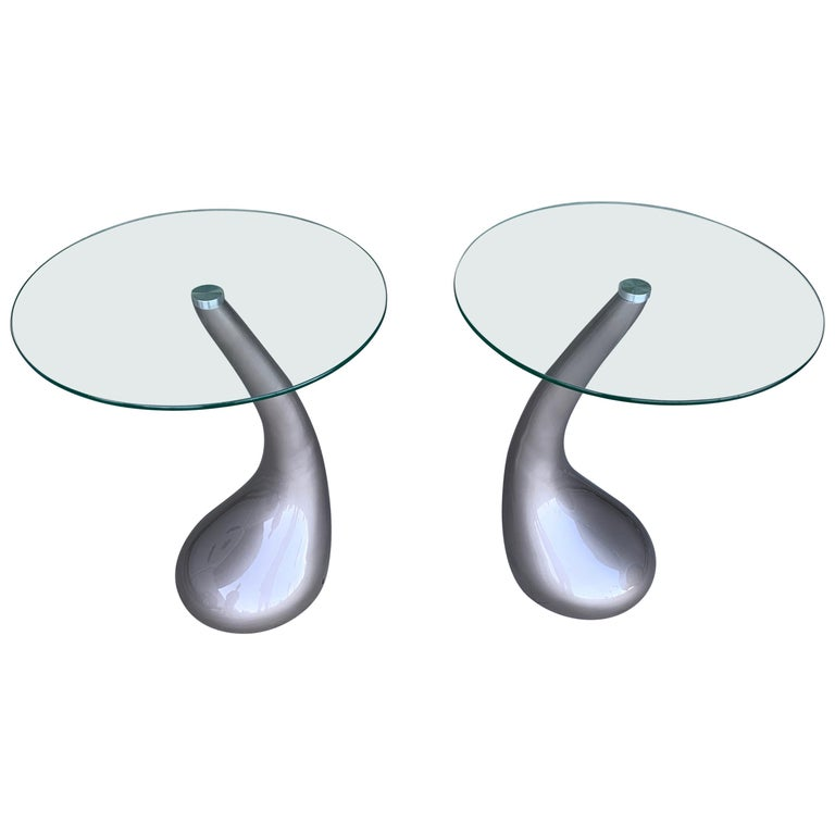 Pair of Resin and Glass Top Tables For Sale
