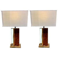Pair of Resin and Palisander Rectangular Shaped Lamps, Indonesia, Contemporary