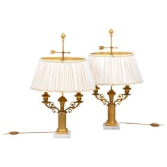 Pair of Restauration Style Lamps in Gilt Bronze, 1950s