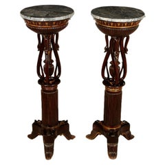 Pair of Restoration Mahogany Gueridons, Italy, First Quarter of the 1800s