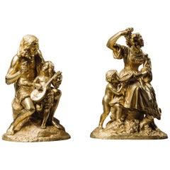 Pair of Restoration Period Gilt-Bronze Allegorical Groups. French, circa 1830