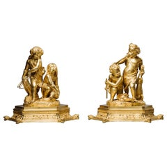 Pair of Restoration Period Gilt-Bronze Figural Groups. French, circa 1830