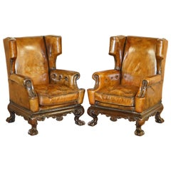 Pair of Restored 1860 Brown Leather Chippendale Wingback Armchairs Claw & Ball