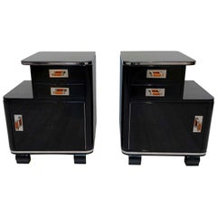 Pair of restored Art Deco Nightstands, Black Lacquer, Nickel, France, circa 1930
