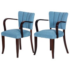 Pair of Restored Art Deco Blue Oak Armchairs, 1930s, France, New Upholstery