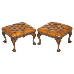 Pair of Restored Chesterfield Brown Leather Claw & Ball Feet Footstools Ottomans