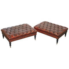 Pair of Restored Chesterfield Brown Leather Hearth Stools Ottomans Footstools