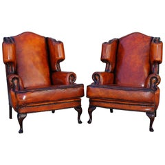 Pair of Restored Chesterfield Morris Wingback Armchairs Whisky Brown Leather