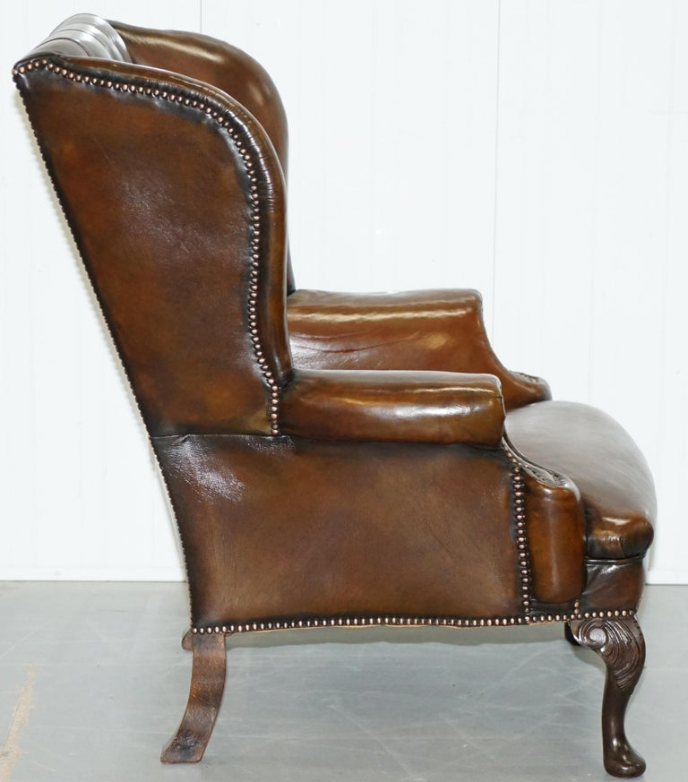 Pair of Restored Cigar Brown Leather Chesterfield Wingback Armchairs Carved Legs For Sale 3