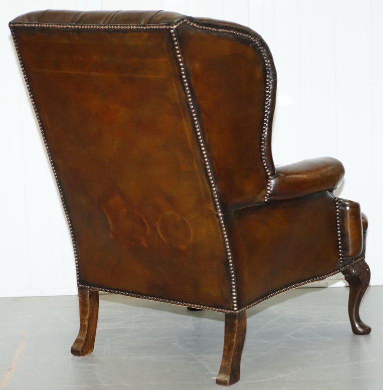 Pair of Restored Cigar Brown Leather Chesterfield Wingback Armchairs Carved Legs For Sale 4