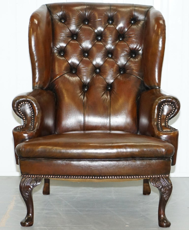 Pair of Restored Cigar Brown Leather Chesterfield Wingback Armchairs Carved Legs For Sale 6